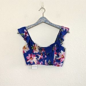 Privacy Please Blue Floral Off the Shoulder Crop